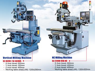 Máy phay vạn năng SZ-A8-V/A8-VS; SZ-1820-V/1820-VS; SZ-1900-VD/1900-VSD; SZ-2200-VD/2200-VSD; SZ-2800-VD/2800-VSD