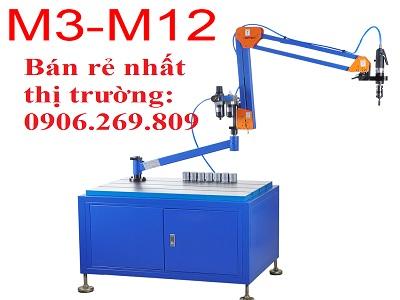 Máy tarô cần khí nén ZH-Q501S (M3-M12; Chiều dài cần 1100mm; Đầu tarô vuông góc cố định)