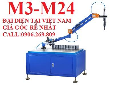 Máy tarô cần khí nén ZH-Q801S (M3-M24; Chiều dài cần 1100mm; Đầu tarô vuông góc cố định)